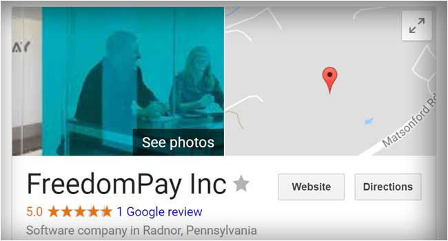 Example of search engine marketing of FreedomPay in Google+